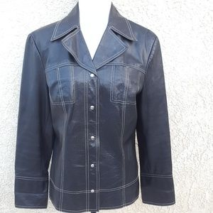 Classiques Entier leather jacket w white stitching